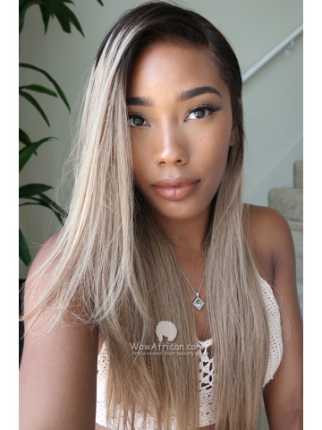 6in Ombre Blonde Highlight Brazilian Hair Silky Straight Lace Front Wigs [Bryana018]
