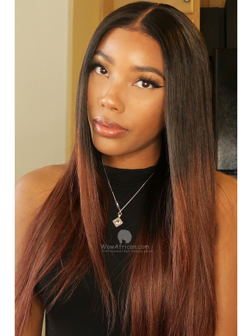 Ombre Brown Hair Color Wavy Virgin Brazlian Lace Wig [CLW07B]