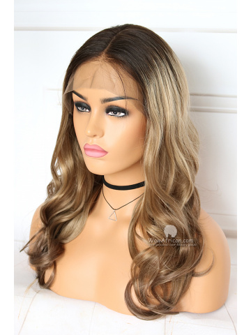 Ombre Color Long Wavy Brazilian Virgin Hair Lace Front Wigs[CLW61]