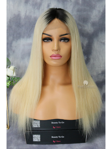 16in Dark Roots Blonde Color Virgin Brazilian Lace Wig[WCS22]