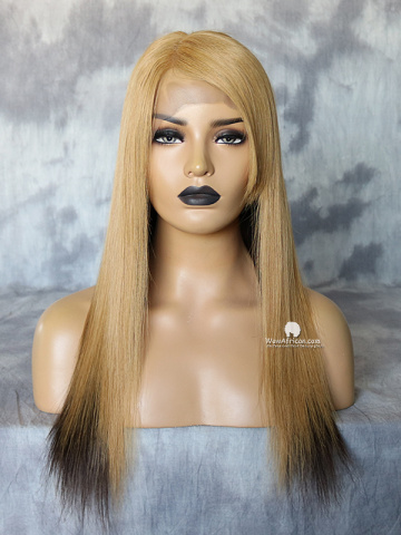16in Blonde Straight With Side Bang Brazilian Virgin Full Lace Wig[WCS184]