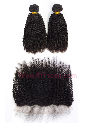 Virgin Brazilian Hair Peruvian Curl Lace Frontal with 2pcs Weaves[WB273]