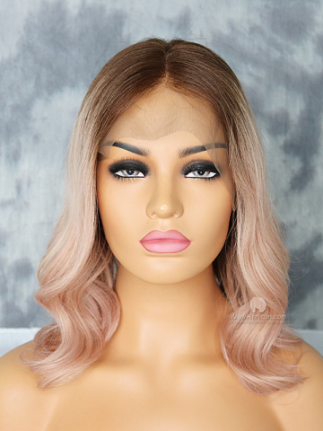 Ombre Ash Pink Wavy Brazilian Virgin Hair Lace Front Wigs[CLW62]