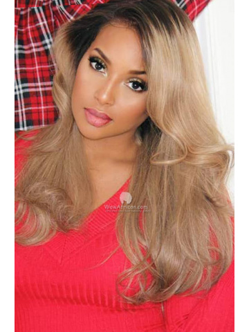 Ash Blonde Highlight Brazilian Hair Lace Front Wigs [Michelle027]