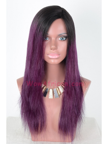 Purple Ombre Color Brazilian Hair Straight Lace Front Wigs[CLW39]