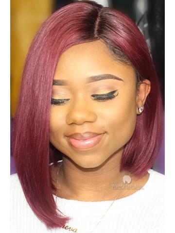 Hot Red Bob Style Brazilian #99J Auburn Hair Color Lace Wig