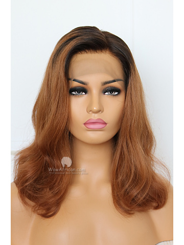 Red Brown Color Side Part Brazilian Hair Bob Wig [CBW31]