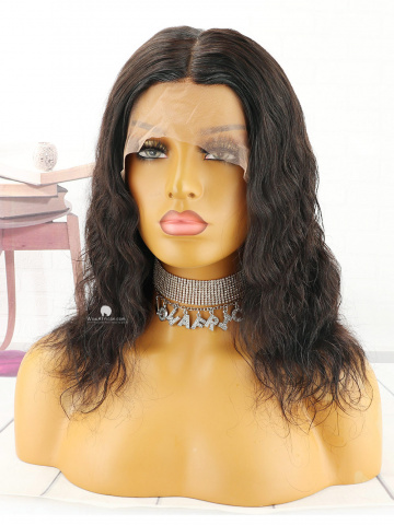 12in Natural Color Body Wave Indian Hair 360 With Silk Top Front Lace Wigs [MS81]