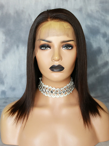 5in Parting Silky Straight  Virgin Brazilian Front Lace Wigs [MS11]