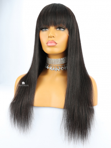 Kim Classic Neat Bang Silky Straight Virgin Brazilian Hair Lace Front Wigs