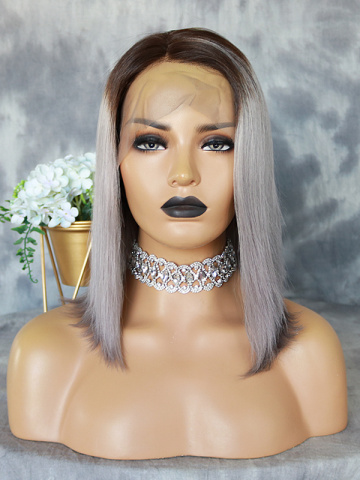 12in Grey/Silver Color Brazilian Vrigin Bob Lace Front Wig[WCS43]