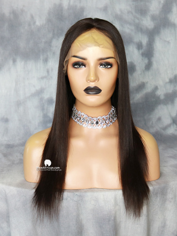 16in Natural Color Silky Straight Brazilian Virgin Silk Top Lace Front Wig[MS31]
