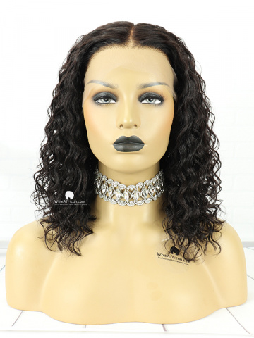 14in Natural Color Curly Indian Hair T Closure Wig[MS60]