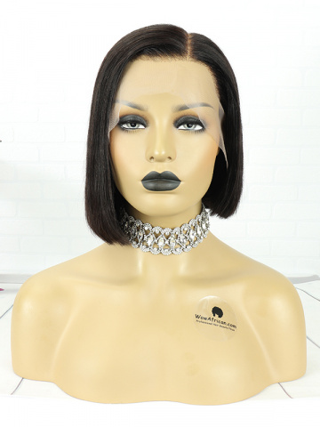 10in Natural Color Straight Bob Indian Hair T Closure Wig[MS63]