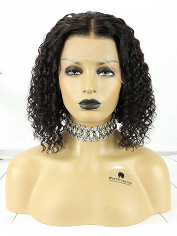 14in Natural Color Curly Indian Hair T Closure Wig[MS62]