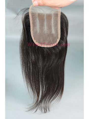 Natural Color Silky Straight Brazilian Virgin Hair Three Part Lace Closure 4x4inches [TC01]