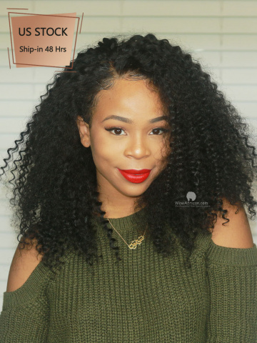 American Stock-180% Density Curly Brazilian Virgin 360 Frontal Wig [TLW06US]