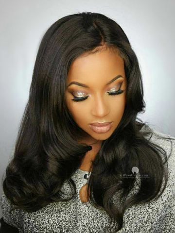 360 Frontal Wig 180% Density Yaki Straight Brazilian Virgin Hair [TLW07]
