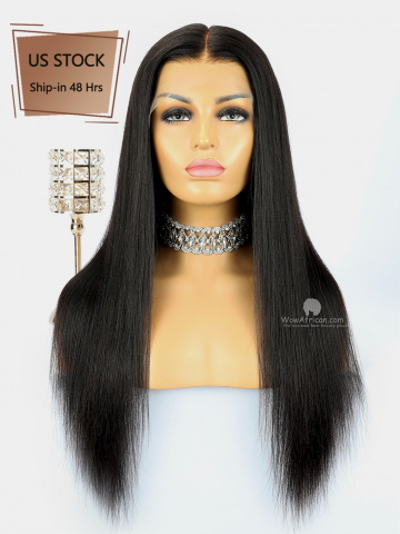 American Stock-360 Lace Wig 180% Density Yaki Straight Indian Hair [TLW17US]