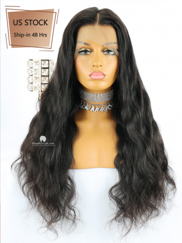 American Stock-150% Density 360 Lace Wig Natural Wave Brazilian Virgin Hair [TLW23US]