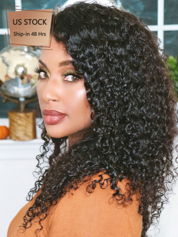 American Stock-150% Density 360 Lace Wig Curly Brazilian Virgin Hair [TLW26US]
