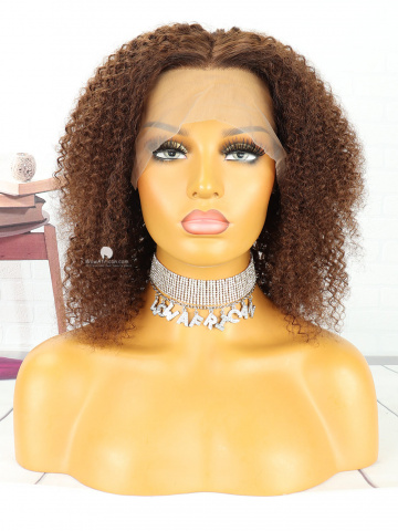 12in Curly #4 Light Brown Front Lace Wigs Brazilian Hair [MS95]