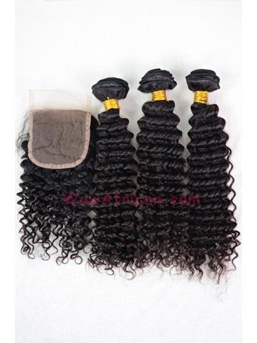 Brazilian Virgin Hair Water Wave A Silk Base Closure with 3pcs Weft Bundles