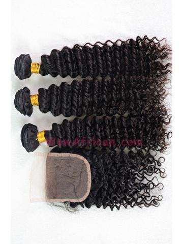 Peruvian Virgin Hair Water Wave A Silk Base Closure with 3pcs Weft Bundles