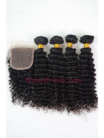 Peruvian Virgin Hair Water Wave A Silk Base Closure with 4pcs Weft Bundles