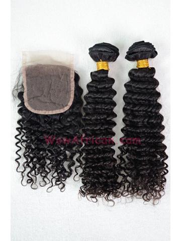 Brazilian Virgin Hair Water Wave A Silk Top Closure with 2pcs Weft Bundles