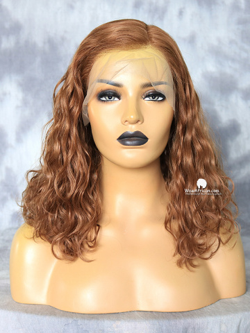 14in Light Brown Messy Wave Virgin Brazilian Bob Lace Front Wig[MS54]