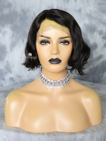 10in Off Black Short Wavy Bob Lace Front Wig[WCS194]