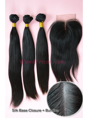 Brazilian Virgin Hair Silky Straight 4X4inches Silk Base Closure with 3pcs Weaves