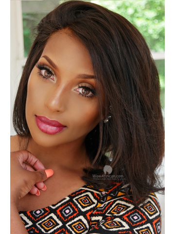 Summer Short Hairstyle Brazilian Virgin Hair Silky Straight Lace Front Wig [CBW19M]