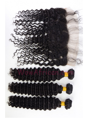 Water Wave Virgin Brazilian Hair Lace Frontal with 3pcs Weaves[WB276]