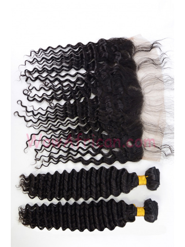 Virgin Brazilian Hair Water Wave Lace Frontal with 2pcs Weaves[WB271]