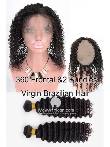 360 Lace Frontal with 2pcs Weaves Virgin Brazilian Hair Water Wave [WB281]