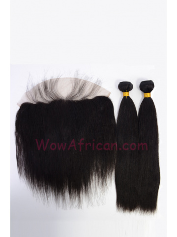 Virgin Brazilian Hair Yaki Straight Lace Frontal with 2pcs Weaves[WB270]