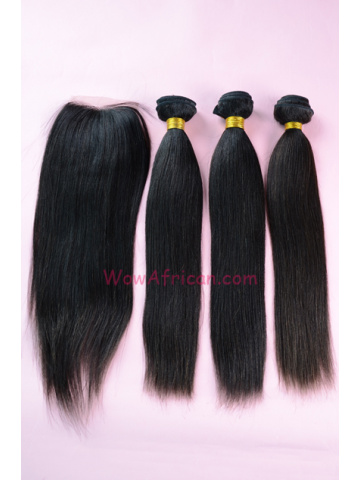 Brazilian Virgin Hair Yaki Straight 3pcs Weaves Bundles With A Silk Top Closure