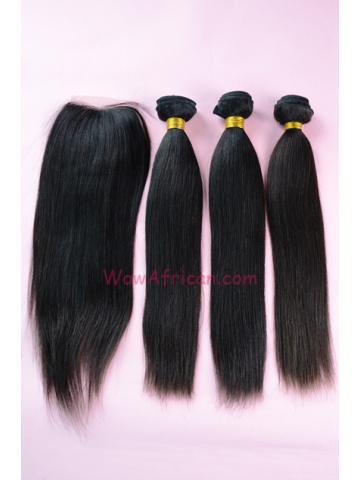 Peruvian Virgin Hair Yaki Straight 3pcs Weaves Bundles With A Silk Top Closure