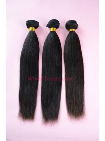Peruvian Virgin Hair Weave 3pcs Bundle Natural Color Yaki Straight