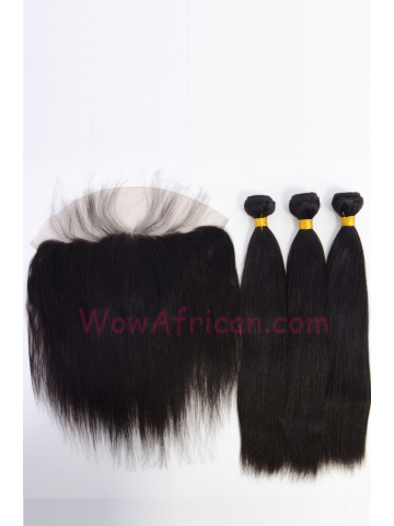 Yaki Straight Virgin Brazilian Hair Lace Frontal with 3pcs Weaves[WB275]