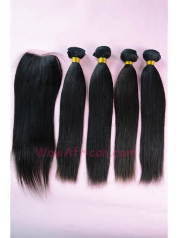 Brazilian Virgin Hair Yaki Straight A Silk Base Closure with 4pcs Weave Bundles