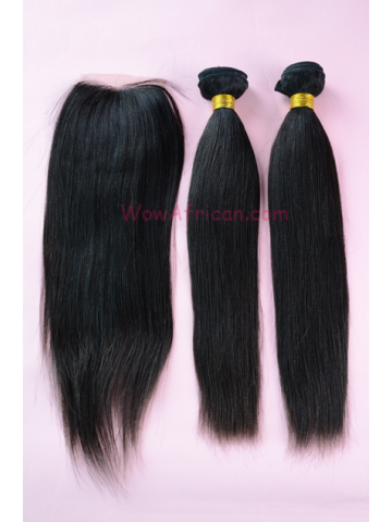 Brazilian Virgin Hair Yaki Straight Silk Base Closure with 2pcs Weaves[WB99]