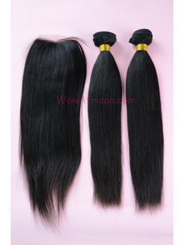 Brazilian Virgin Hair Yaki Straight 2pcs Weaves Bundles with A Lace Closure