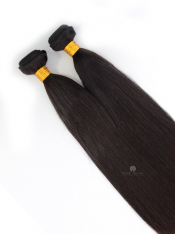 European Virgin Hair Weave Natural Color Yaki Straight 2pcs Bundle[WB221]