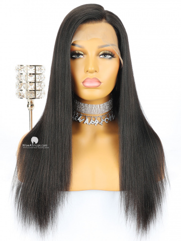 Natural Color Yaki Straight Brazilian Virgin Hair Glueless Full Lace Wigs[GFL07]