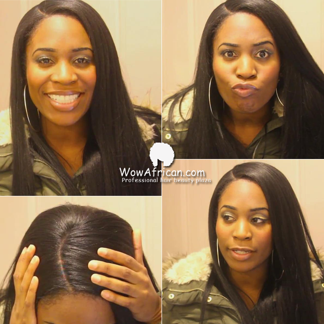 1b Off Black Yaki Straight Indian Remy Hair Glueless Full Lace Wigs