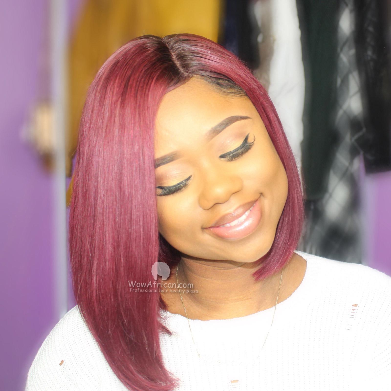 Beyonce Inspired Bob Style Brazilian 99j Auburn Hair Color Lace Wig