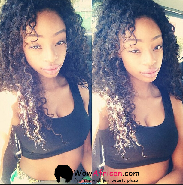 Brazilian Curl Brazilian Virgin Hair 3.5X4inches Middle Part Closure with 3pcs Weaves[WB12]